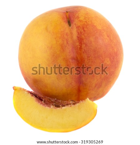Slice of ripe peach on white background - stock photo