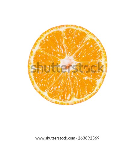 Slice of ripe tangerine isolated on white background - stock photo