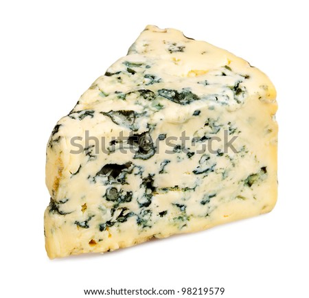 Slice of Roquefort cheese on white background - stock photo