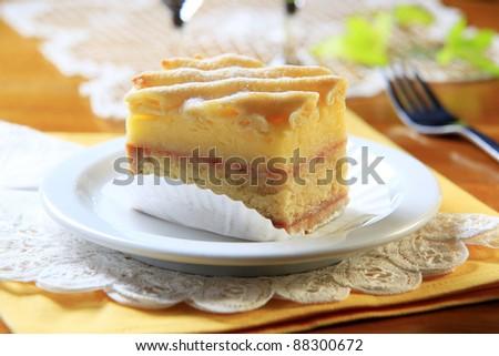Slice Of Rum Soaked Vanilla Sponge Cake