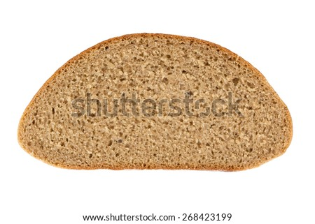 Slice of rye bread isolated on white background