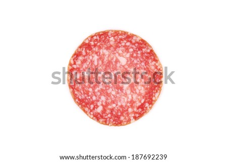 Slice of salami. Isolated on a white background. - stock photo