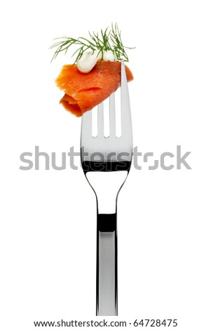 slice of smoked salmon with garlic sauce and dill sticking on fork, isolated on white - stock photo