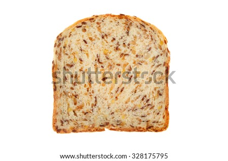 Slice of soya and linseed bread isolated against white - stock photo