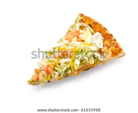 Slice of taco pizza on white background with reflection and copy space - stock photo