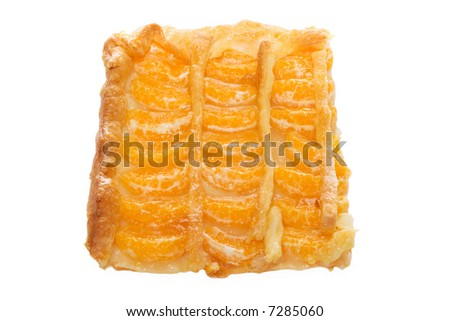 Slice of tangerine pie on a white background