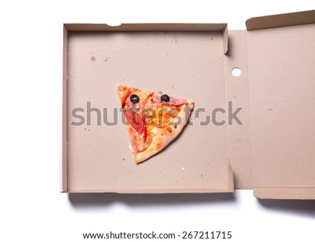 Slice of tasty pizza with ham and tomatoes in box, isolated on white background  - stock photo