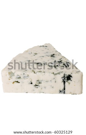 Slice of the Danish blue cheese with a mould on a white background. - stock photo