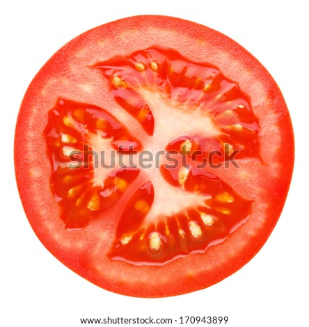 Slice of tomato isolated on white - stock photo