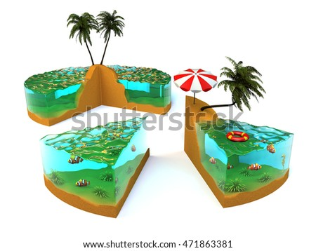 Slice of tropical island. 3D illustration.