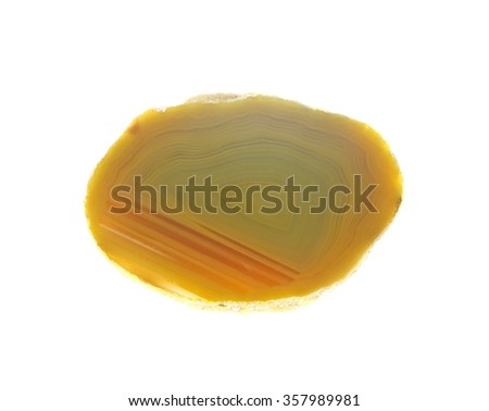 Slice of unpolished agate, a quartz variety of silicon dioxide, SiO2,  - stock photo