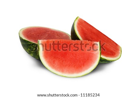 Slice of watermelon isolated on white background - stock photo