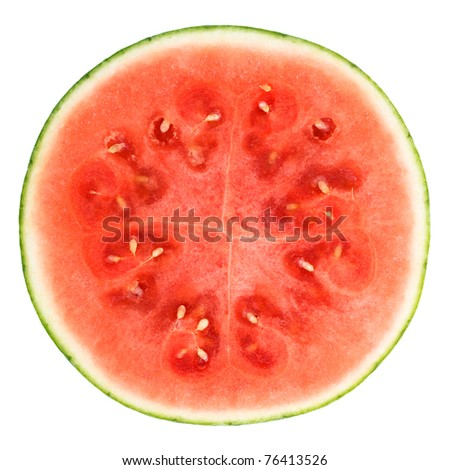 slice of watermelon over white background with clipping path - stock photo
