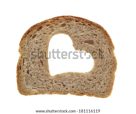Slice of whole wheat bread isolated on white background - stock photo