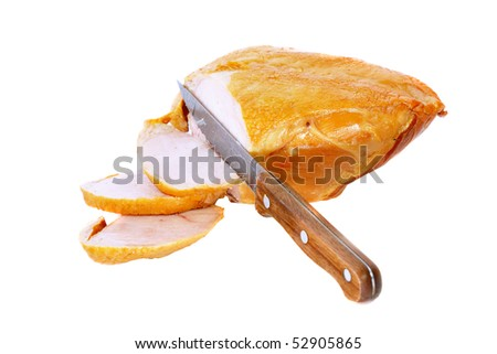 Slice on smoked chiken with knife . Isolated over white. - stock photo