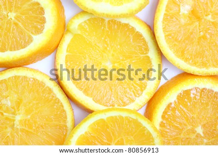 Slice orange isolated in white background