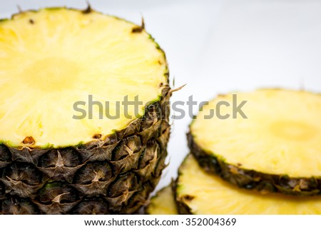 slice pineapple on  white background