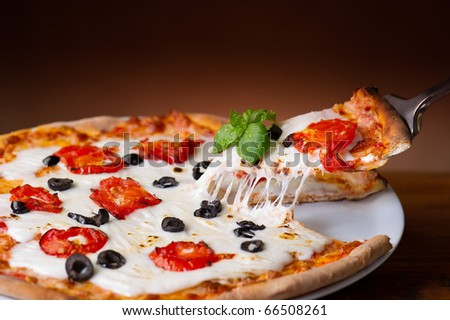 slice pizza  with buffalo mozzarella - stock photo