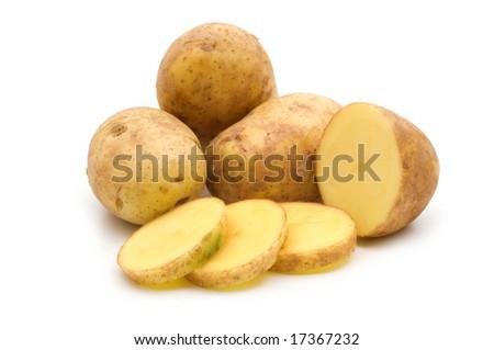 slice potato on white background - stock photo