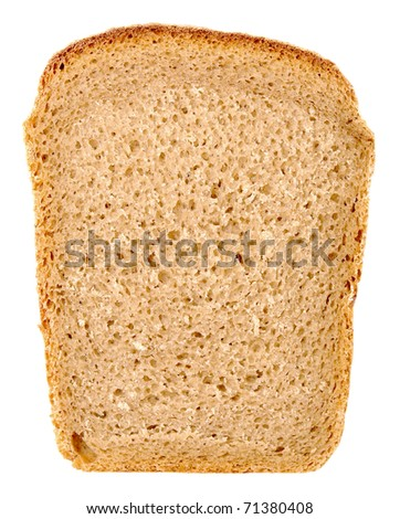slice rye bread isolated on white