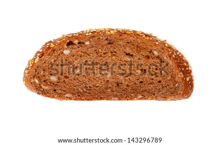 Slice rye bread isolated on white background