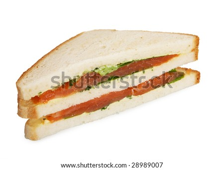slice salmon club sandwich isolated on white background
