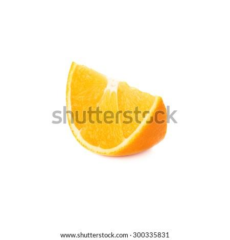Slice section of ripe orange isolated over the white background - stock photo