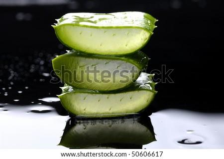 slice sloe with reflection - stock photo