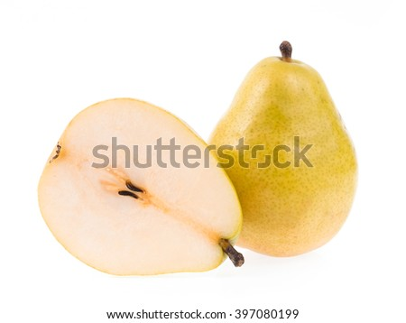slice yellow pears isolated on white background - stock photo