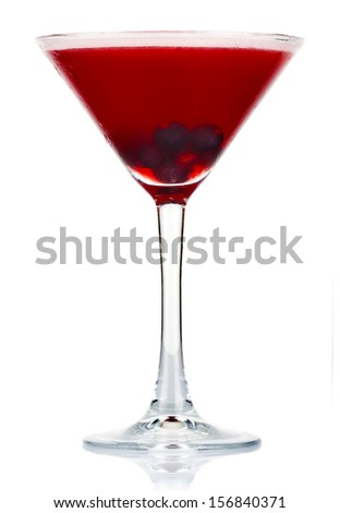 Sliced alcohol cocktail with currant berry isolated on white background - stock photo