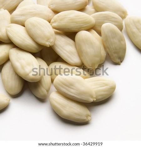 Sliced almonds tipe fascionello on white - stock photo