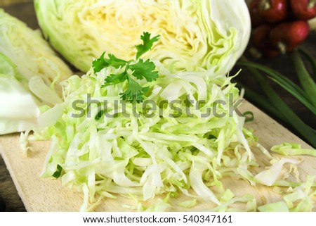 sliced and cut fresh green cabbage organic vegetable