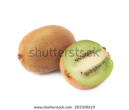 Sliced and cut kiwifruit chinese gooseberry kiwi composition isolated over the white background - stock photo