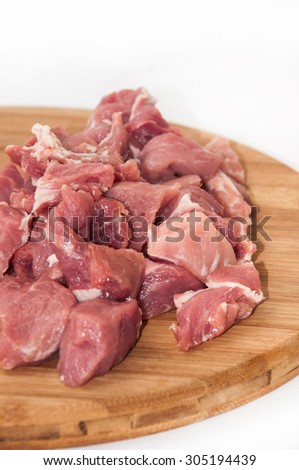 Sliced and prepared pork meat for stew.