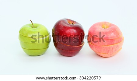 Sliced and Shuffled Green and Red Apple