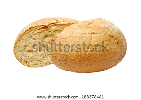 Sliced appetizing crunchy bread isolated on white background.