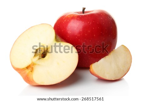 Sliced apple isolated on white - stock photo