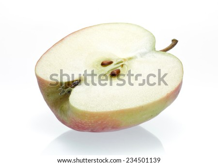 sliced apple on a white background