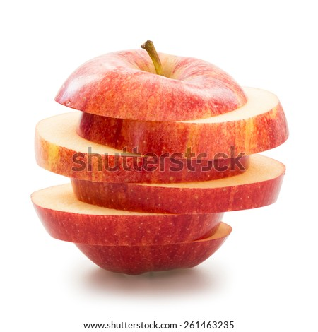 Sliced apple over white background - stock photo