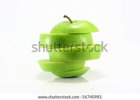 sliced apples isolated - stock photo