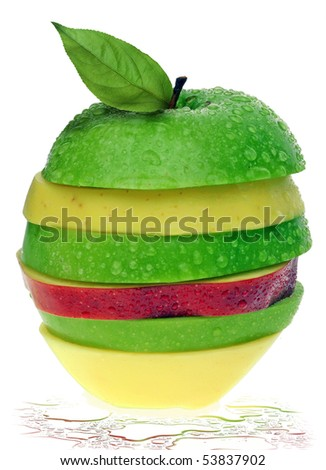 sliced apples isolated on white - stock photo