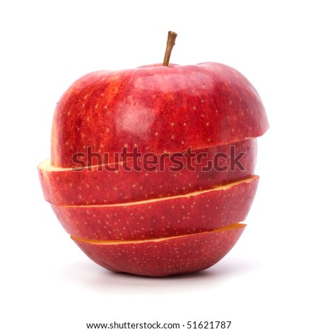 sliced apples isolated on white background - stock photo