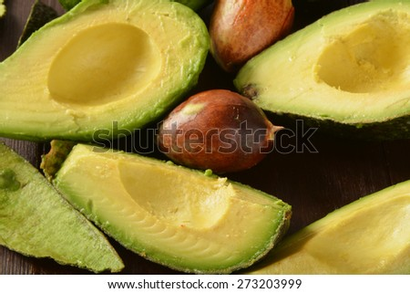 Sliced avocado from a high angle view - stock photo