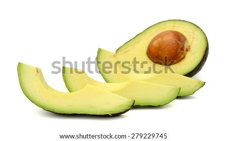 sliced avocado on white background  - stock photo