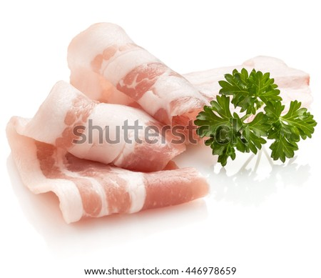 sliced bacon and parsley leaves isolated on white background cutout - stock photo
