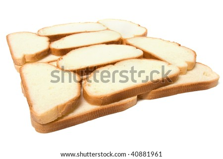 sliced baguette isolated on white
