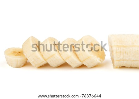 Sliced bananas on a white background