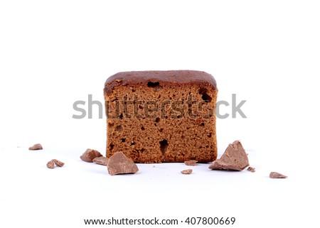 sliced bar cake, chocolate sliced cake, chocolate cake, slice cake, cake slices, chocolate sliced cake in white, cake in white  - stock photo