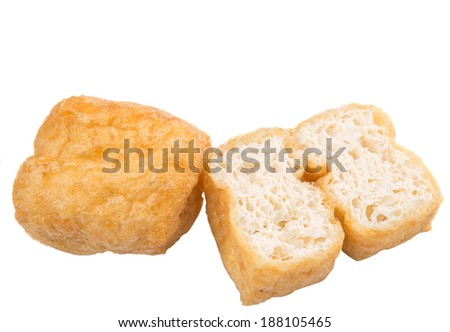 Sliced bean curd tofu over white background - stock photo