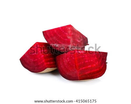 Sliced beetroot isolated on the white background.